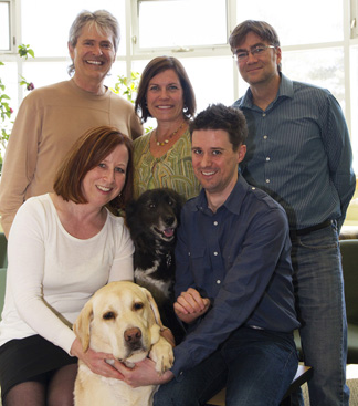 Back row from left: Tony Kusalik, Terra Arnason and Troy Harkness. Front row from the left: Valerie MacDonald, Cooper, Elphie and Casey Gaunt. Photo: On Campus News.
