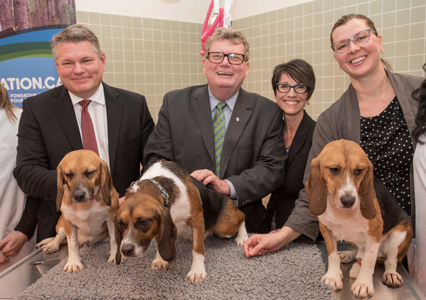 From left: MP Randy Hoback and Toffee, Minister of State Ed Holder and Patch, MP Kelly Block and WCVM researcher Dr. Lynn Weber with Pongo. Photo: Derek Mortensen, Canadian Press Images.