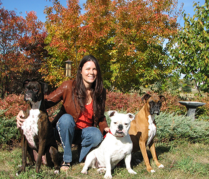 Subie, Anna-Belle and Kisbey with their human, Colleen Dell. Photo courtesy U of S Communications.